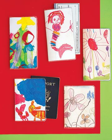 Great gift idea: kids' artwork becomes Mom's checkbook sleeve or passport cover