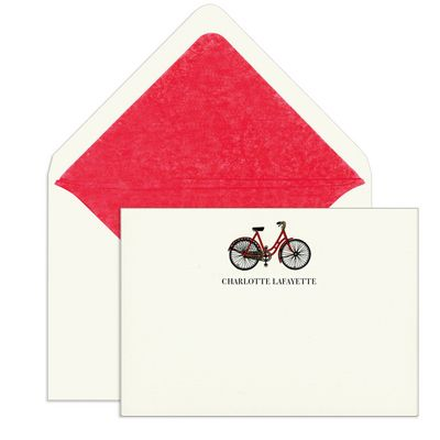 Elegant Note Cards with Engraved Red Bicycle