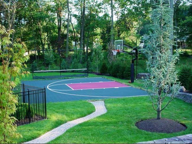 Backyard basketball court backyard pinterest for Sports courts for backyards
