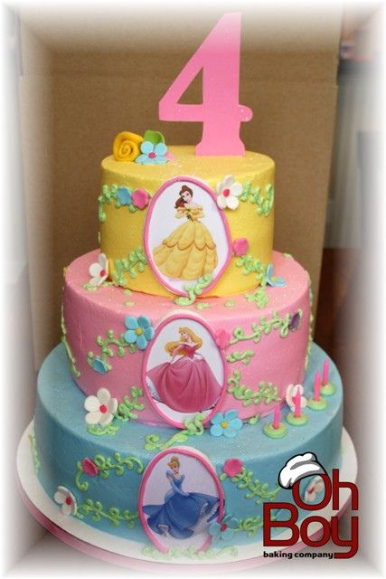 Pastel Three Layer Disney Princess Birthday Cake