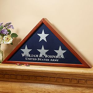 """This is really neat ... it's the """"American Hero"""" Personalized Flag Case from PersonalizationMall. You can have it engraved with any name and any line of text at the bottom ... it's such a beautiful way to display the American Flag at home! #militaryfamily #flag"""