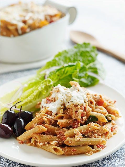 Four-Cheese Baked Penne with Romaine Hearts