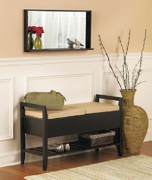 Wood wooden entryway storage bench mirror shelf seat foyer hallway fu Entryway bench and shelf