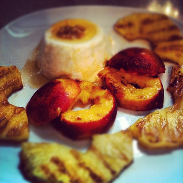 Grilled Peaches With Lemon Yogurt & Honey Recipe — Dishmaps