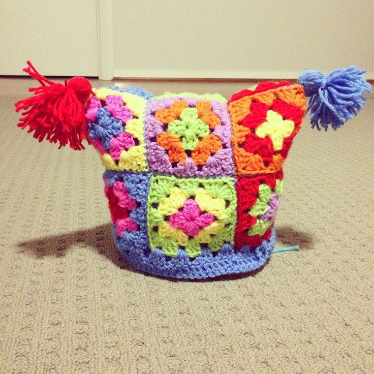 Crochet Granny Square Beanie Pattern : Crochet granny square baby beanie Crochet Pinterest