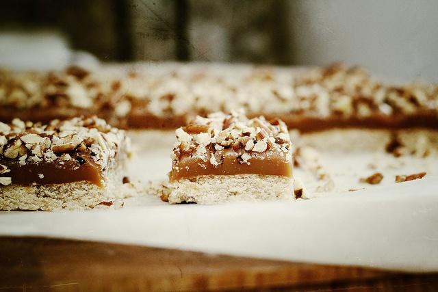 caramel pecan bars...homemade shortbread topped with decadent caramel ...