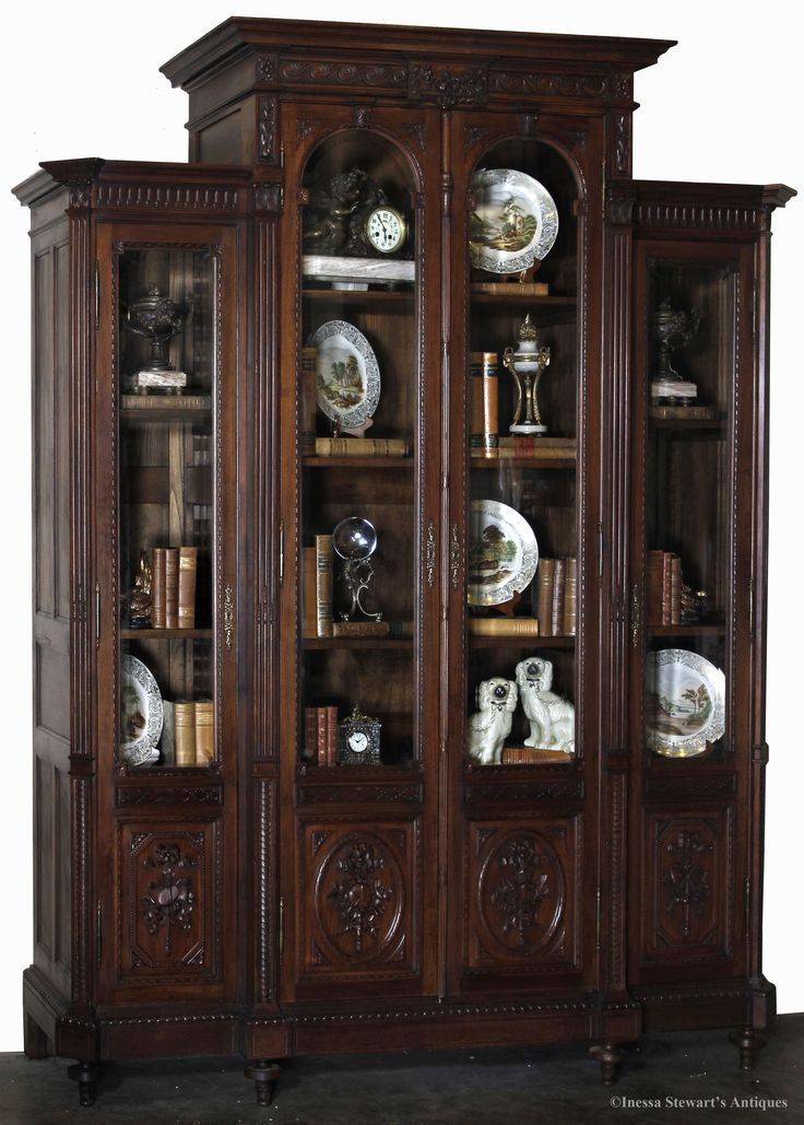 how to decorate an antique bookcase
