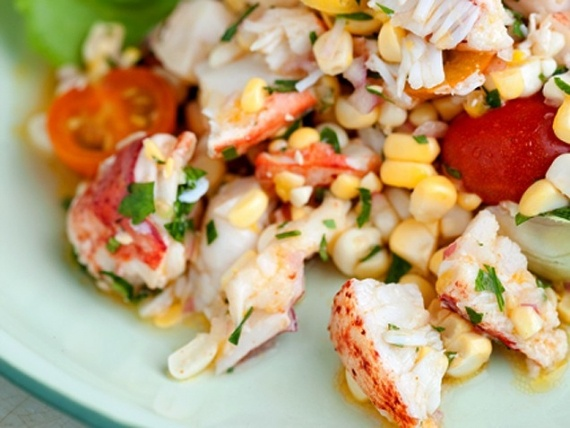 Corn Tomato and Lobster Salad...I add chopped egg and bacon bits to be ...