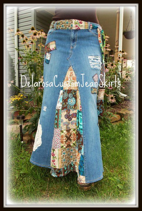 classic hippie patchwork jean skirt custom order to
