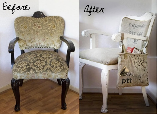 Before & After - Reupholstered Mailbag Chair
