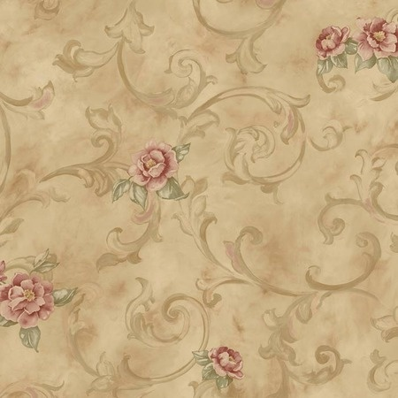 This rose fresco scroll wallpaper in camel from the remington rose