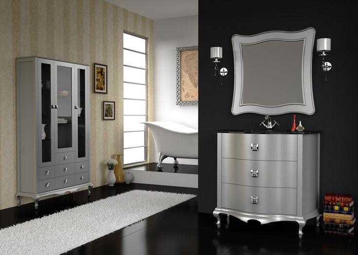 Mueble de ba o venezia gris plata muebles de ba o for Muebles de bano murcia