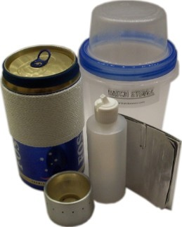Ultralight Stove Kit - Designed for backpacking, but also great to include in a bug out bag or 72-hour kit. Basically, you use these to boil water and then add to dehydrated foods like instant potatoes, minute rice, or Knorr pasta kits. Fuel used is inexpensive HEET fuel additive (high test alcohol).