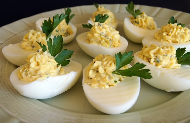deviled eggs - tarragon and capers | St. Patrick's Day | Pinterest
