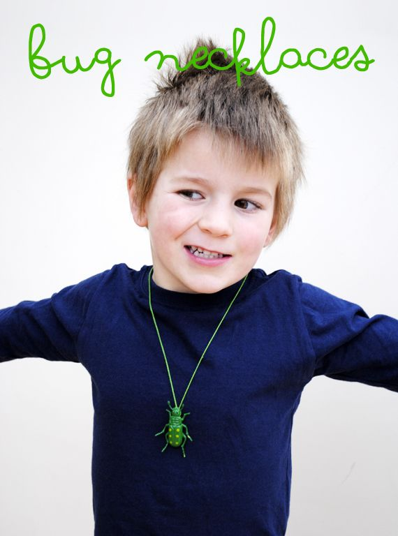 super simple Bug necklaces from minieco