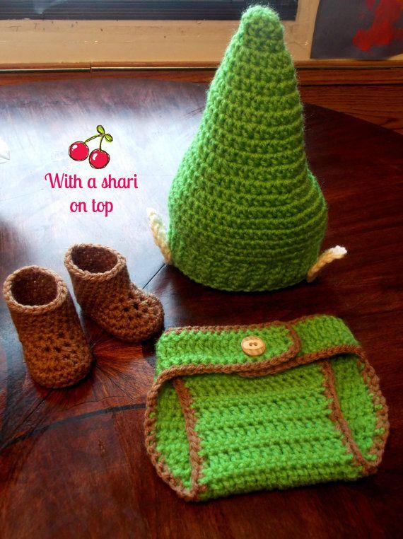 Crochet Newborn Outfits : Zelda Link Inspired Newborn Crochet Outfit Set by WithaSharionTop, $34 ...