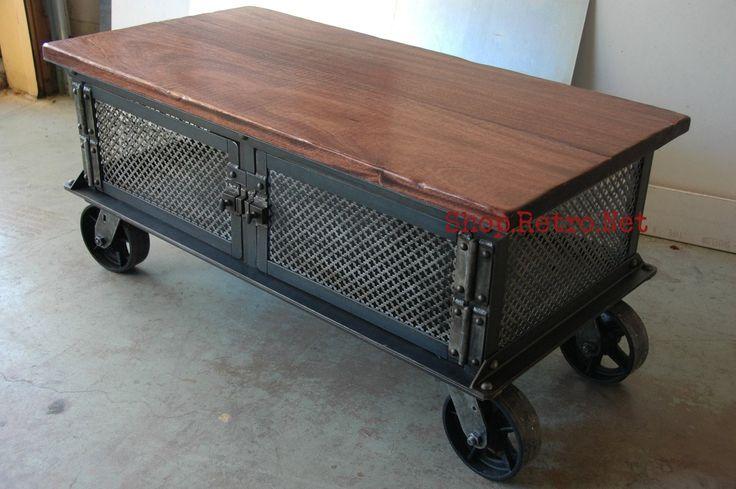 Ellis Coffee Table Vintage Industrial Flat Panel Tv Stand On Casters