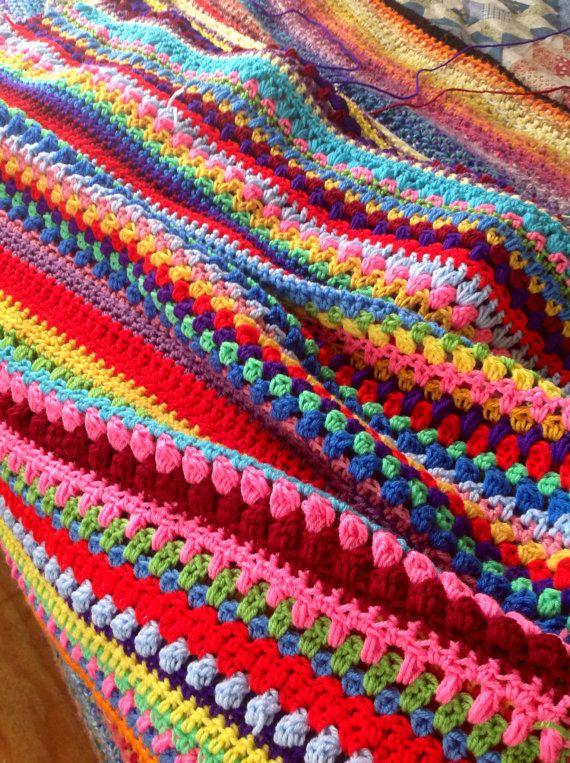 Crochet afghan multi stitch colorful rainbow by RobinMeadDesigns, $125 ...