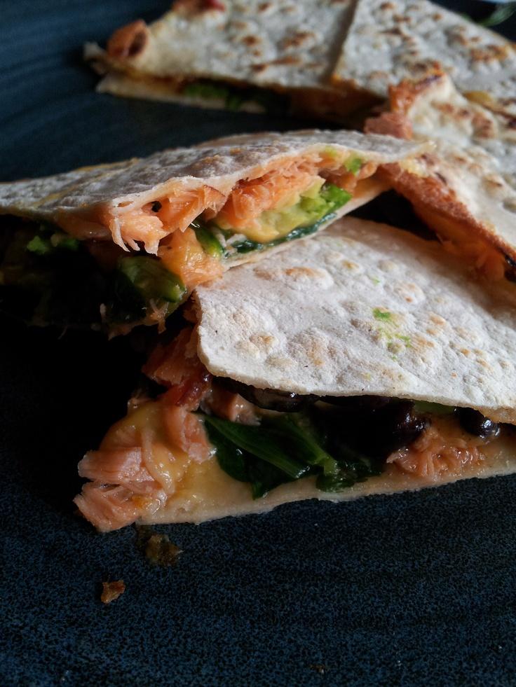 ... quesadilla, with avocado, black beans, mache, roasted tomato salsa