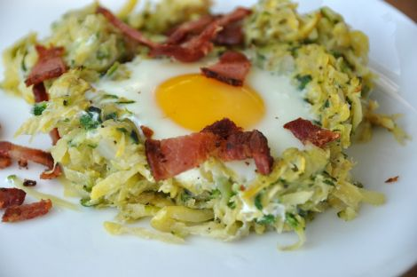 Baked Egg with Bacon and summer squash | food is our friend | Pintere ...