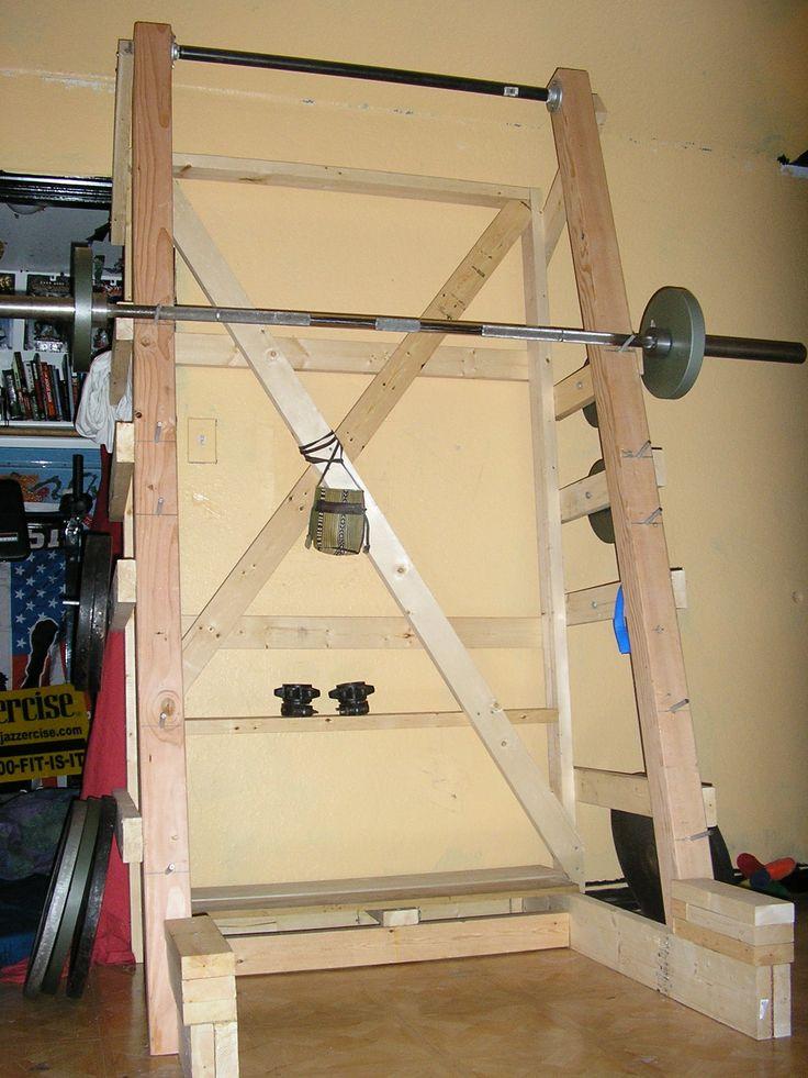 Diy squat rack home gym pinterest for Homemade squat rack