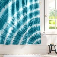 Turquoise And Grey Shower Curtain Tie Back Shower Curtains