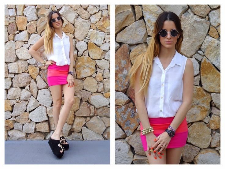 ♥ LOOK OF THE DAY 11-10-2012 ♥  ♥ Camisa de Gasa sin Mangas  ♥ Mini Bicolor Coral & Fucsia  ♥ Saona Birken Sandals Black