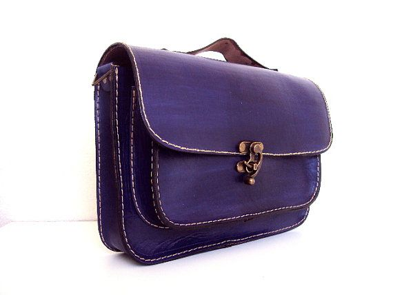 Purple Leather Messenger Bag ,Tote Bag ,ipad Bag ,for women ,unisex ...