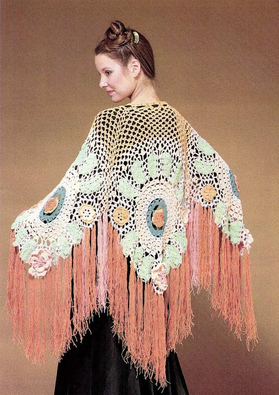 Crochet Patterns For Shawls Vintage : PDF Crochet Pattern - Vintage 70s