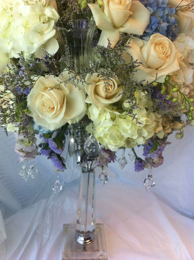 Centerpiece on a clear glass candelabra vintage wedding