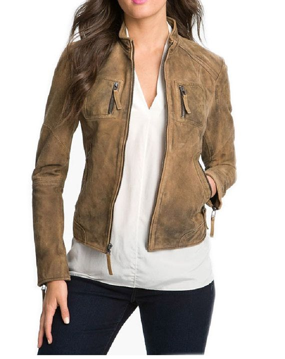handmade women brown suede Leather Jacket, women Brown suede Leather