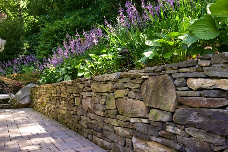 stone retaining wall w plants retaining walls pinterest