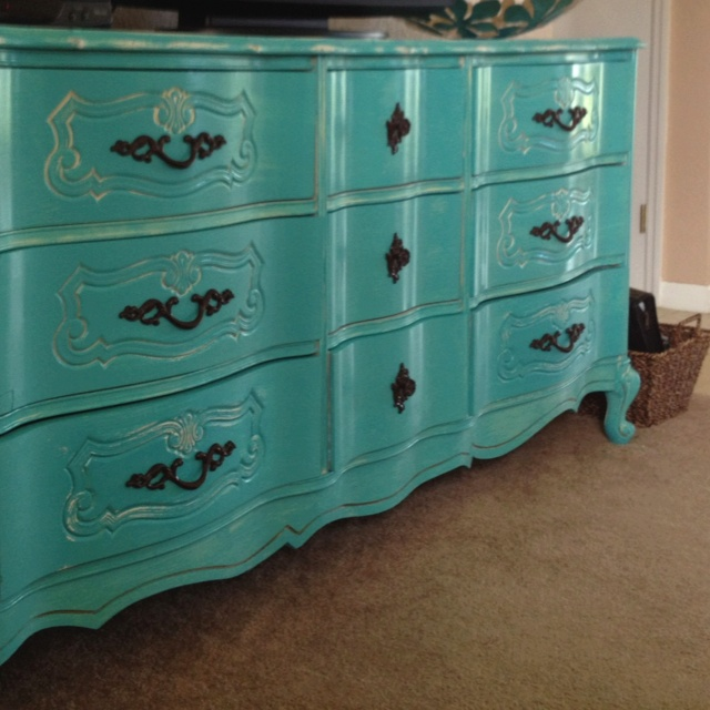 Teal Dresser For The Bedroom Painted Furniture Pinterest