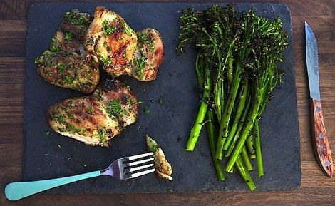 Chicken Thighs with Spicy Grilled Broccolini - foolproof fresh herb ...