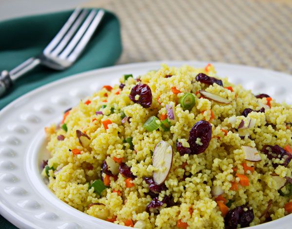 Curried Couscous with Almonds and Cranberries is as easy as boiling ...