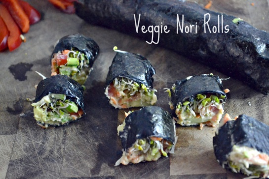 Veggie Nori Rolls. These look damn lunch worthy. Vegetarian. @Matt ...