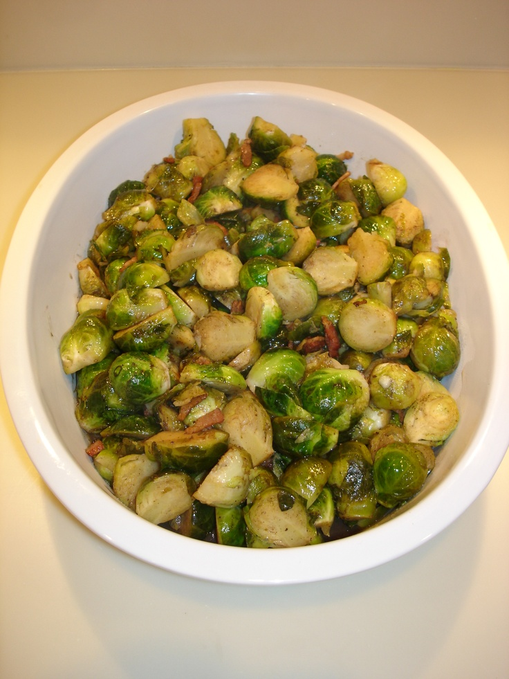 BRUSSELS SPROUTS BRAISED WITH PANCETTA AND BALSAMIC REDUCTION