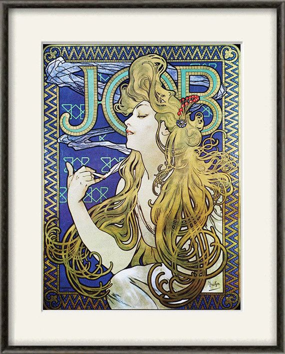 Art Nouveau Art Print Antique Prints Mucha Art Home Decor Wall Old Pr
