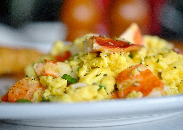 Lobster Scrambled Eggs Fluffy scrambled eggs cooked with lobster meat ...