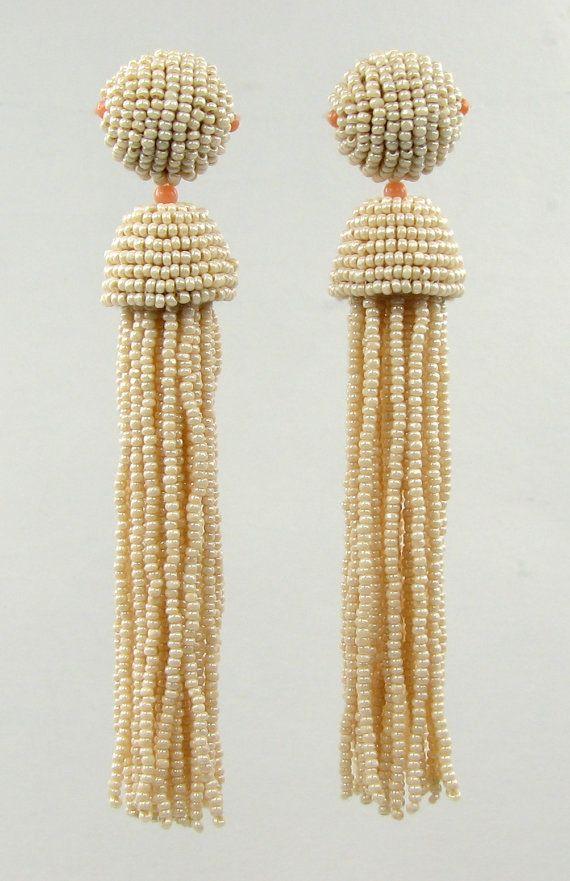and coral seed bead tassel earrings version