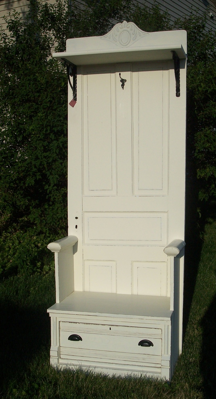 Antique Door Hall Tree Bench Seat Painted Furniture