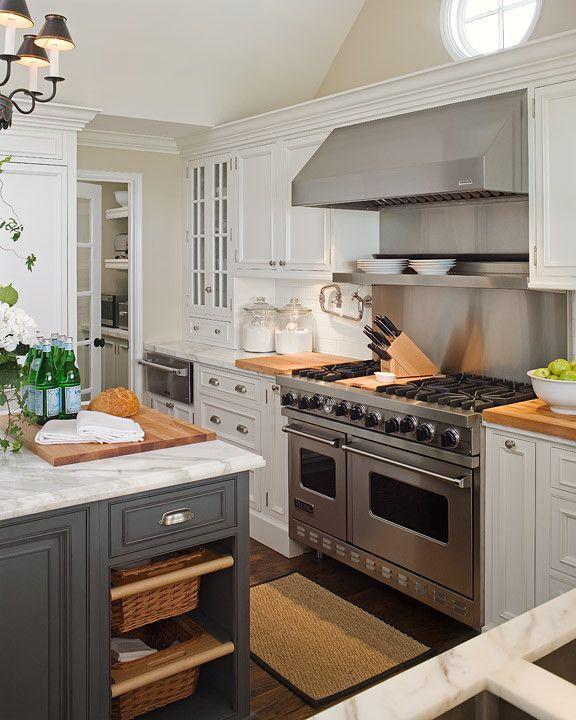 kitchen, charcoal kitchen island, pull out baskets, kitchen island