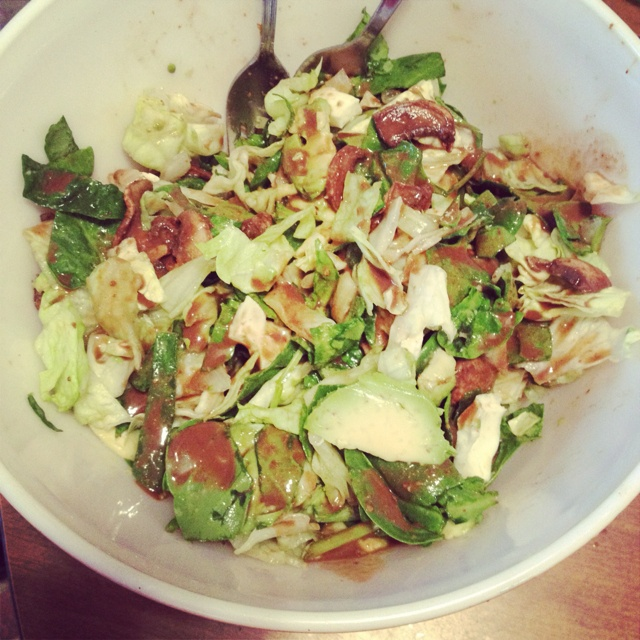Spinach+romaine salad with hard boiled egg whites, avocado, balsamic ...