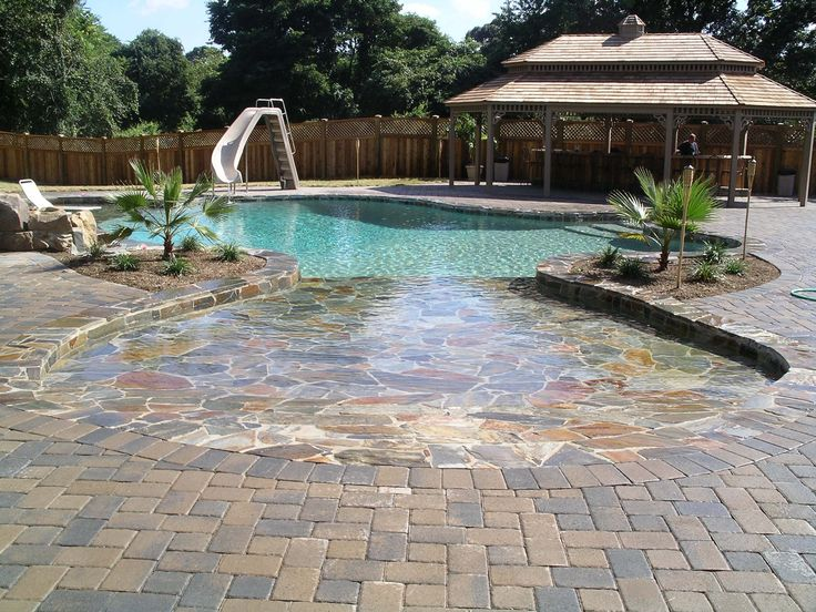Beach entry pool new house pools pool house pinterest for Pool design with beach entry
