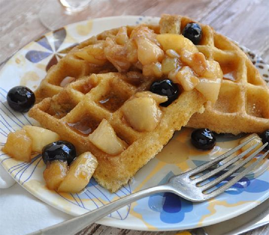 Gluten-Free Waffles (w/ Pear & Blueberry Compote)