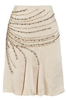 Silk Skirt Embellished With Pearls, and Crystals