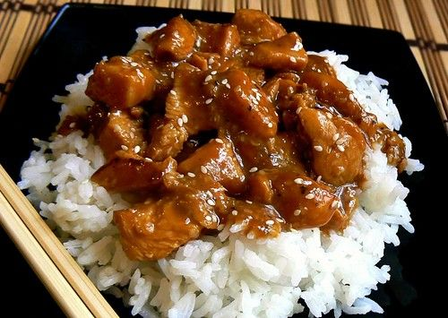 BROWN SUGAR GARLIC CHICKEN  - 4-5 chicken breasts, cut   - 1 cup packed brown sugar   - 2/3 cup vinegar   - 1/4 cup Sprite or 7-Up soda   - 2 -3 tbls minced garlic   - 2 tbls soy sauce   - 1 tsp (regular black or cayenne)     Place chicken in crock pot. Mix all remaining ingredients and pour over chicken. Cook on low for 6-8 hours. Serve over rice or noodles.