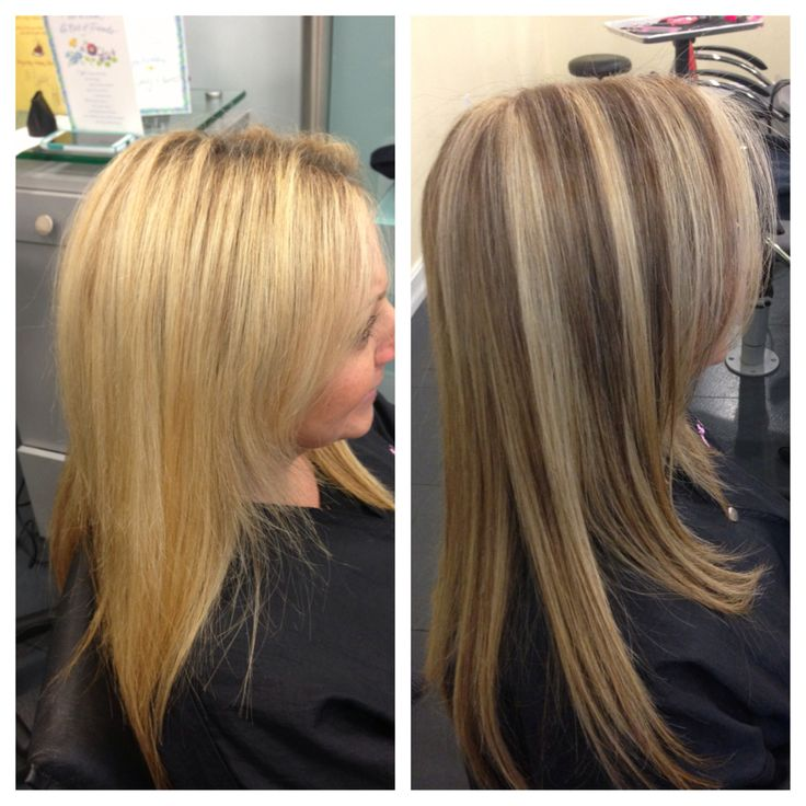 blonde hair with lowlights before and after