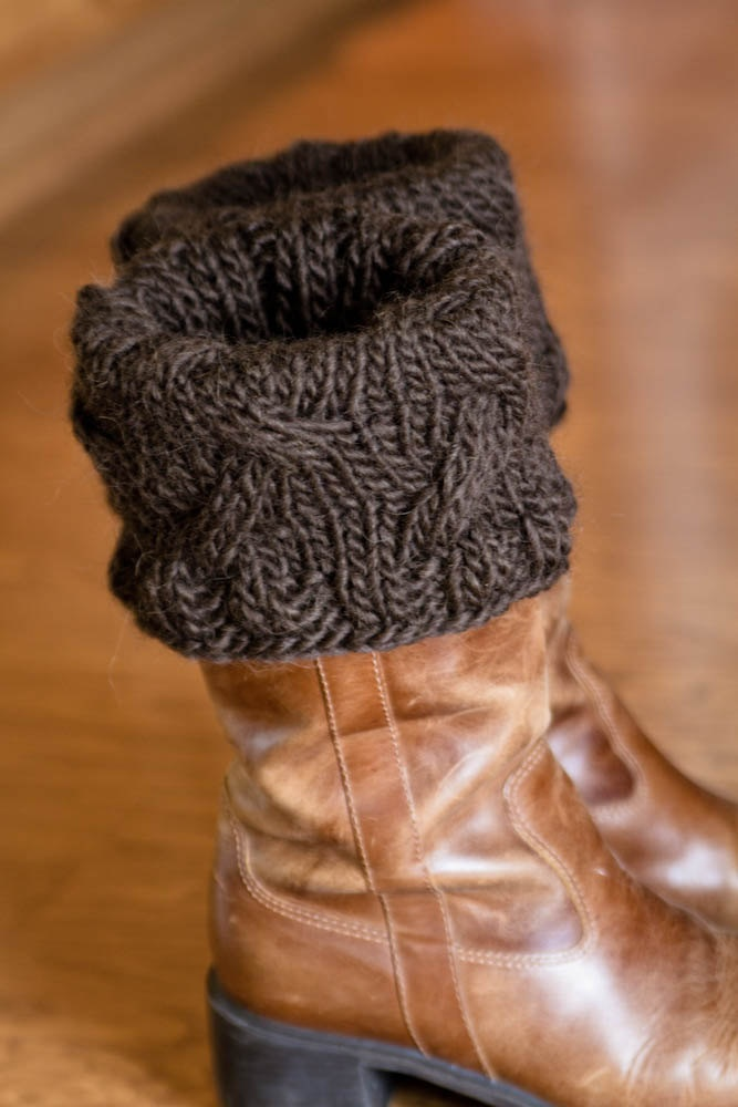 Knitted Boot Toppers Pattern : Hand knit Chocolate Brown boot toppers, boot cuffs, boot buffers, leg?