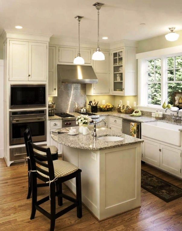 Island farmhouse sink floors kitchens pinterest for Square kitchen layout ideas